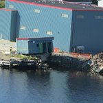 Port aux Basques fish plant where the Blue Puttees ran aground in July