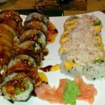 Crab Rangoon roll (left), soft shell crab, spicy California roll (right). all three were great.