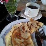 Banana pancake during breakfast