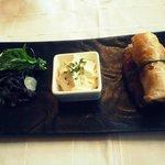 Croustillants de Gambas au Chorizo, Chantilly à l'Ail Confite