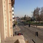 View from de balcony of CasAltura Hostel, Santiago, Chile.