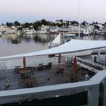View from our friends room of deck and harbor