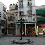 plaza near to the hostel; the street of the hostel is the narrow one on the left of the photo