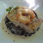 merlu langoustine et risotto à la crème de langoustine