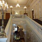 Grand staircase, 1st floor landing above, ground floor lobby below