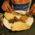 haricots, saucisse d'Anjou et lardons/champignons