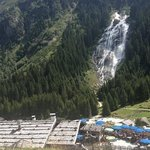 grawa alm in front of the waterfall