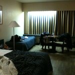 Excuse the mess! A view of our spacious room