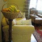 fruit basket and seating near the breakfast area