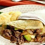 Criolla Crepe, Beef, Mixed Potatoes, Avocado, Onion