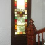 The house had lots of interesting details, including hand-carved woodwork and a stained-glass wi