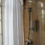 Curtain with bathroom drain