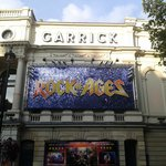 The front of the Garrick Theatre complete with shiny sign!