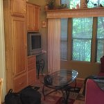Shows dining, kitchen, loft to a couple beds, bath & bed - similar to walking into an RV