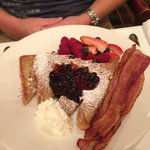 Maple butter french toast with Saskatoon berry compote