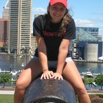 My girl on top of the cannon