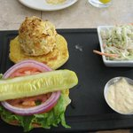 Crabcake sandwich with apple slaw