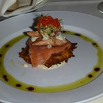 House smoked trout and salmon potato galette
