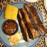 Ribs with cole slaw, beans and cornbread