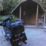 Our bike in front of the Kamper Kabin!