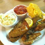 Fried trout platter with coleslaw, tomato pudding, and cornbread. $8.99