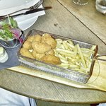 Scrumptious Scampi and chips with side salad