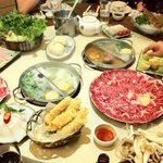 A display of the dishes order for the hot pot.