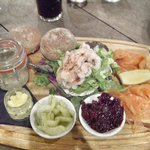 Fisherman's platter. The smoked mackerel pâté, in the jar, divine!