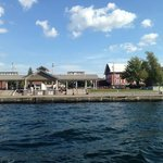 The Inn (Red Building) as seen from my tour boat on the St. Lawrence River. Right across the str