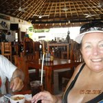Friend Cheryl @Miramar--Yum...Shrimp Cocktail in backgrouond