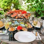 Fresh seafood platter including Lobster, Crab, Oysters, King Prawns, Clams and more!