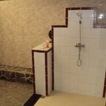 The shower in the enormous bathroom