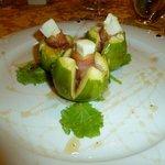 antipasto of figs, pecorino and prosciutto
