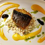 Sea bass, curry cream and popcorn from the Fish Food Story