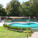 piscina pequeña y algo fresca, mucha sombra
