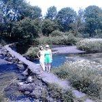 Meghan & Kelly crossing the river lee at  Ballingeary west cork