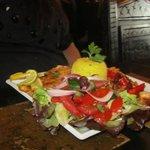 Skewers of Fish (seabass, salmon fillet, and king prawns)