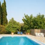 the villa pool area
