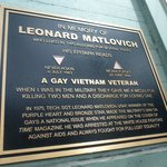 Plaque remembering gay US soldier