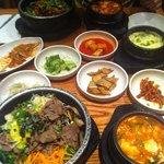 Bibimbap + stew + sides
