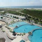 """View from our room (""""C"""" Bldg).  Pools and lazy river"""