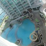"""View form our room (""""C"""" Bldg).  North side pools with slides."""