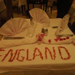 Decorated table in main restaurant on our last day