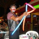 Clown making balloon