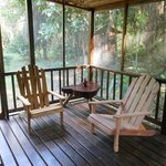Screened deck off of the Cotton Tree Cabana