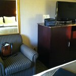 Chair, microwave, TV, coffee bureau