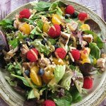 Chicken salad with oranges and fresh raspberries