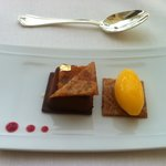 Chocolate mouse cake and peach sorbet