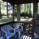 The outside deck/porch on the cabins.