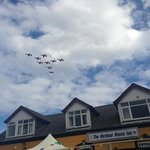 Red arrows! The perfect spot at the harbour inn